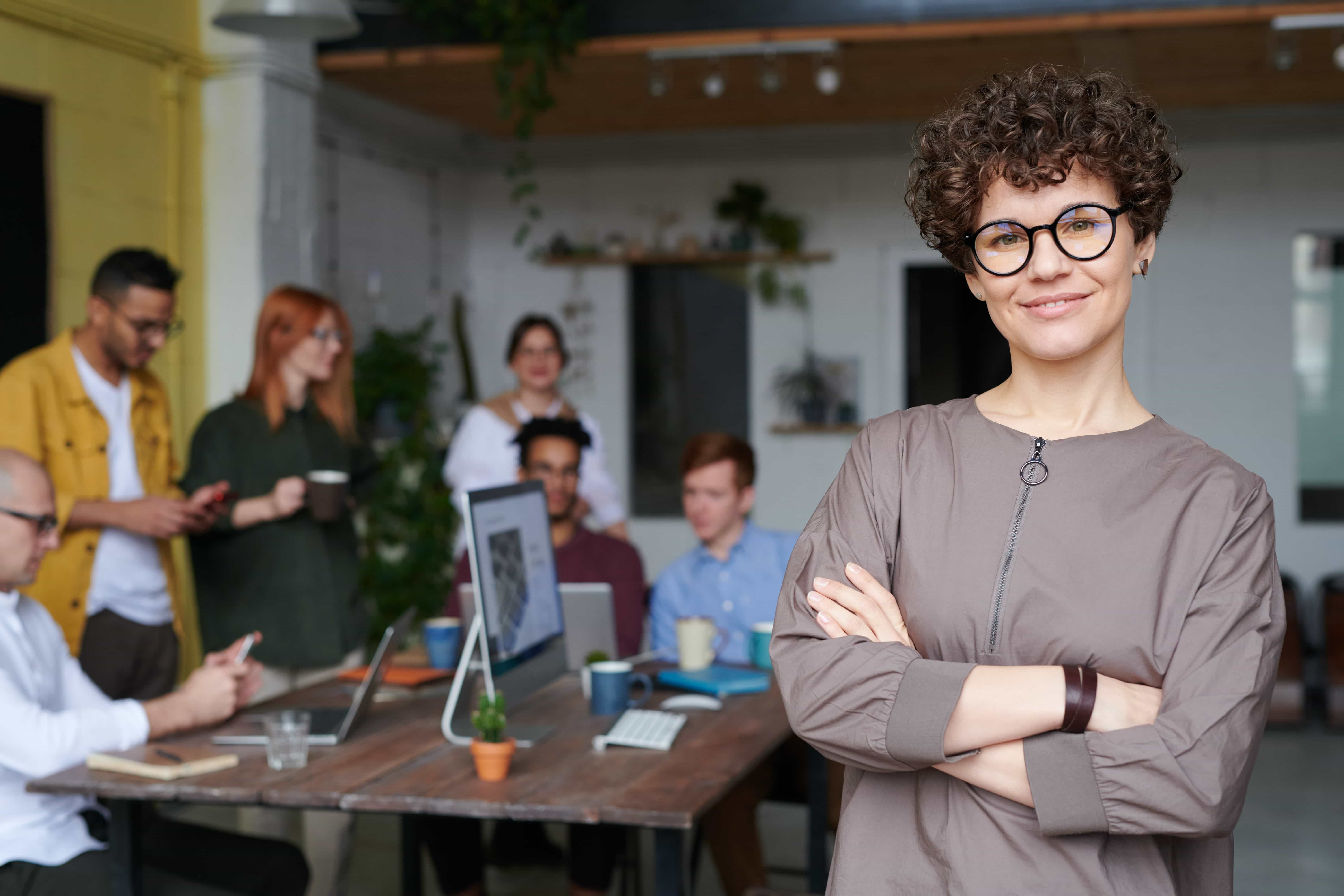 Woman satisfied with her accounting services